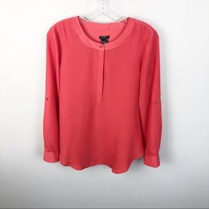 Ann Taylor Coral Popover Blouse Long Sleeve